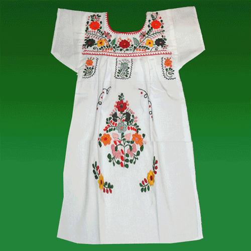 """Vestido Donaji Blanco Bordado, """"S"""""""
