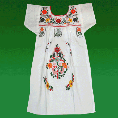 """Vestido Donaji Blanco Bordado, """"M"""""""