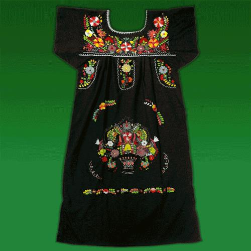 """Vestido Donaji Negro Bordado, """"L"""""""