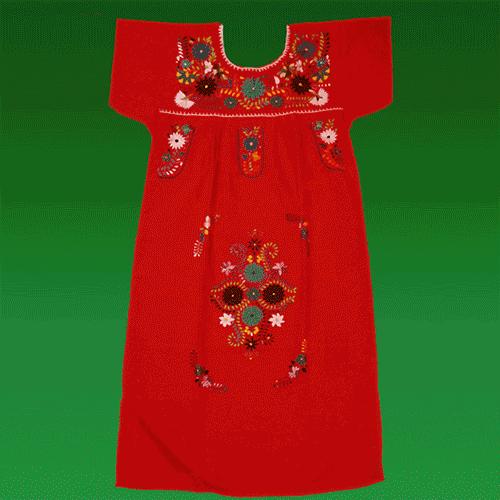 """Vestido Donaji Rojo Bordado, """"S"""""""