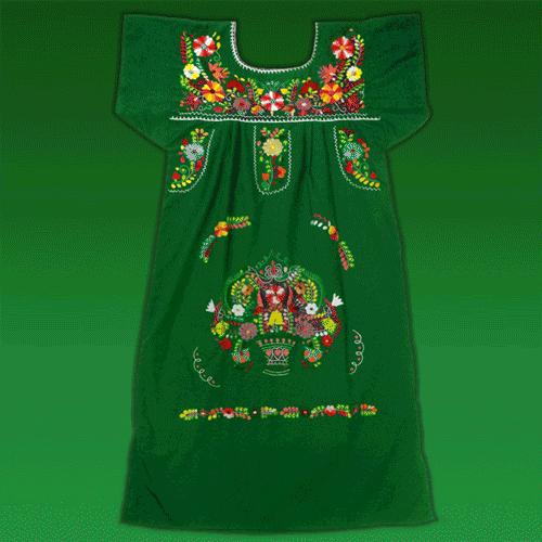 """Vestido Corto Donaji Verde Bordado, """"L"""""""