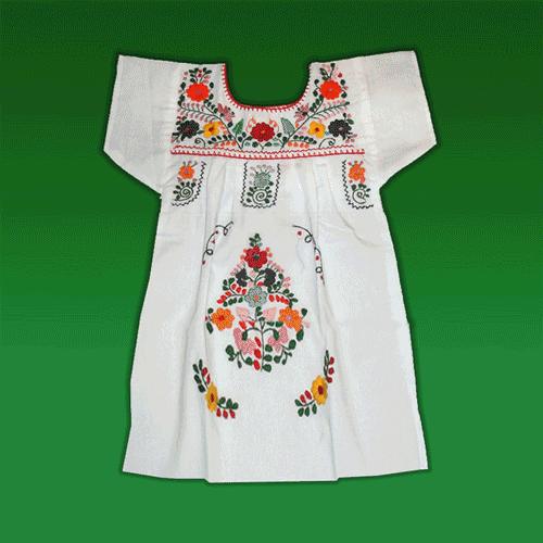 """Vestido Donaji Blanco Bordado Niña, Talla """"08"""""""