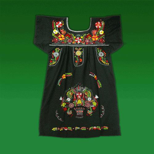 """Vestido Corto Donaji Negro Bordado, """"M"""""""