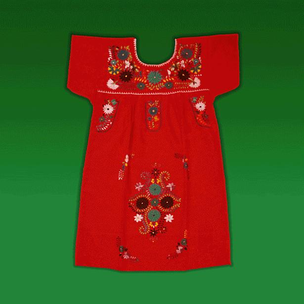 """Vestido Corto Donaji Rojo Bordado, """"S"""""""