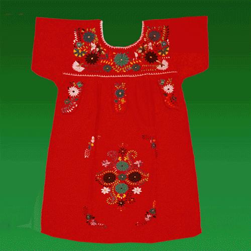 """Vestido Donaji Rojo Bordado Niña, Talla """"06"""""""
